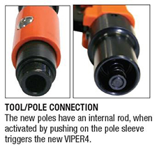 Close up view of pole connection
